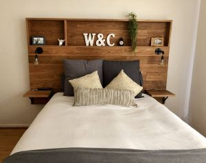 Fantastic Decorating without A Headboard Unique Love This Wooden Headboard with Shelves My Husband Made for