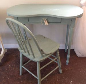 Kidney Shaped Desk New Vintage Kidney Shape Vanity and Chair In ascp Duck Egg