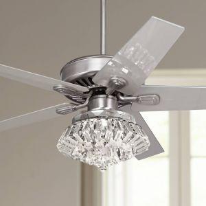 """Modern Ceiling Fan Luxury 52"""" Windstar Ii Steel Crystal Light Kit Ceiling Fan"""