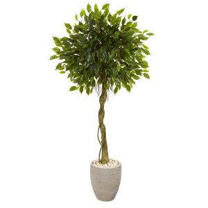 New Artificial Decorative Indoor Trees Fresh 5 5 Ficus Artificial Tree In Oval Planter Uv Resistant