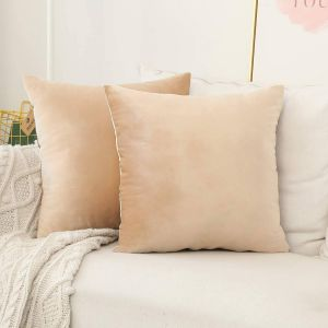 New Decorative Pillowcases for Couch Elegant Home Brilliant Cream Pillow Covers for Couch Velvet Square Decorative Pillowcases for Bench Couch Livingroom 18x18 Inch 45x45cm 2 Pieces Beige