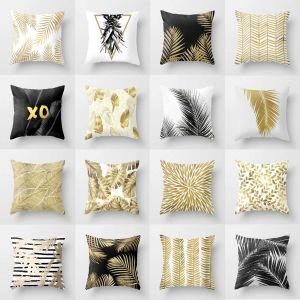 New Decorative Pillowcases for Couch Elegant nordic Golden Leaf Print Pillowcase Decorative Letter