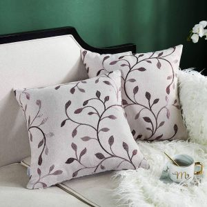 New Decorative Pillowcases for Couch Unique Amhoo Jacquard Leaf Pattern soft Throw Pillow Covers Embroidered Cushion Covers Pillowcase for sofa Couch Home Decorative 18 X 18 Inches Pink Set Of 2