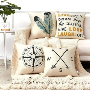 New Decorative Pillowcases for Couch Unique Anickal Decorative Throw Pillow Covers 18x18 Inches Set Of 4 Cotton Linen Pass Arrow Feather Live Love Laugh Quote Couch Pillow Covers for Modern