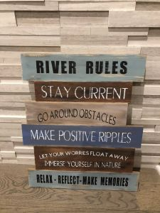 New Decorative Signs with Sayings Beautiful River Rules Painted Wood Sign Wood Signs Quotes Sayings