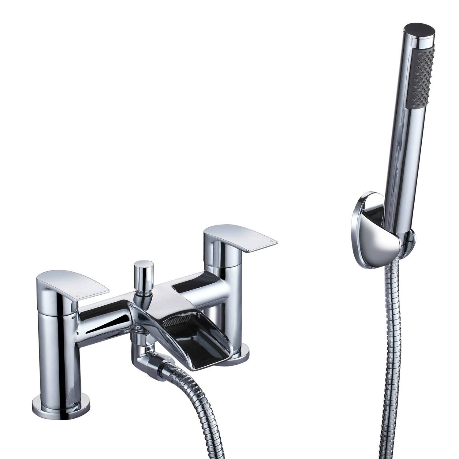Hapilife Waterfall Bathroom Tap Chrome with Handheld Shower Head