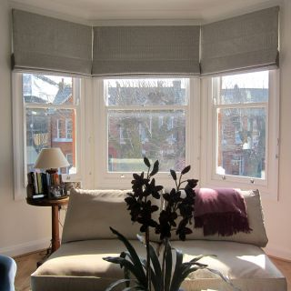 Picturesque Ideas for Window Treatments for Bay Windows New Geometric Patterned Roman Blinds In A Bay Window Could Work