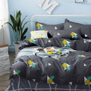 Unique Gray and Yellow Bedding Lovely Pineapple Duvet Cover Set soft Cotton Bedding Yellow