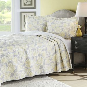 Unique Gray and Yellow Bedding New Full Queen Yellow Gray Floral Cotton Reversible Quilt