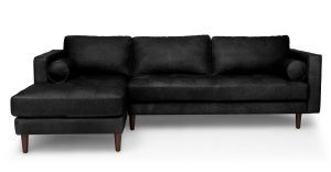 White Tufted sofa Elegant Black Leather Sectional sofa Tufted