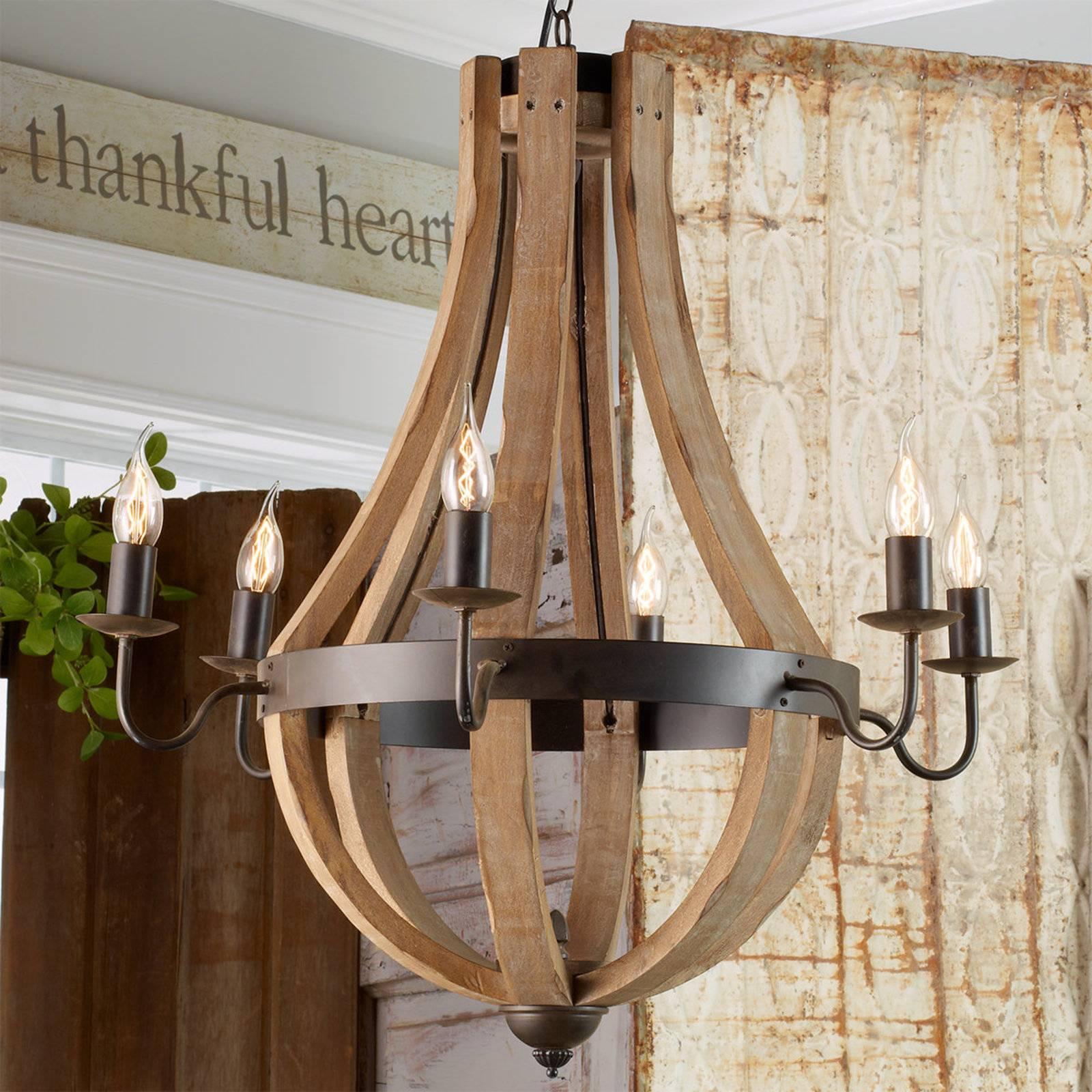 wooden wine barrel stave chandelier