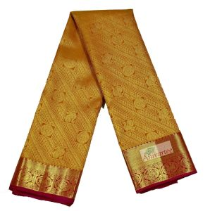 Yellow and Tan Unique Beautiful Kanchi Silk Brocade Saree In N Yellow and Red for