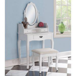 Bedroom Vanity Sets Luxury Roundhill Furniture Ribbon Wooden Bedroom Vanity and Stool