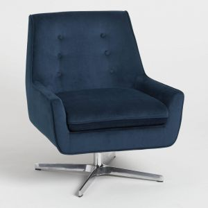 Blue Leather Chair Best Of Ink Blue Velvet Brooks Swivel Chair by World Market