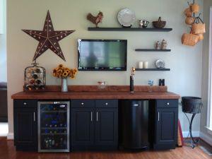 Corner Bar Cabinet Elegant Bar with Kegerator & Wine Fridge Stock Pine Cabinets