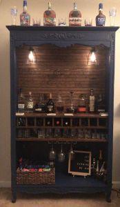 Corner Bar Cabinet Unique Repurposed Armoire Into Bar with Shiplap Back 10 Wine