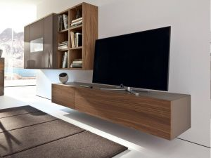 Floating Tv Stand Luxury Brown Laminated Wooden Simple Wall Mounted Tv Cabinet Also