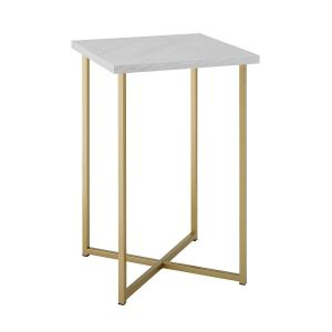 "Gold Side Table Fresh 16"" Square Side Table Faux White Marble Gold"