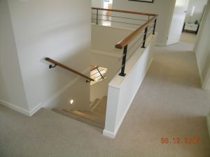 Iron Stair Railing Luxury Half Wall Timber Handrail Stainless Steel Rails and Black