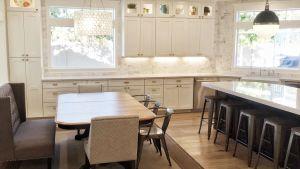 Kitchen Ideas Houzz Elegant Classic Farmhouse Design White Shaker Cabinets Marble