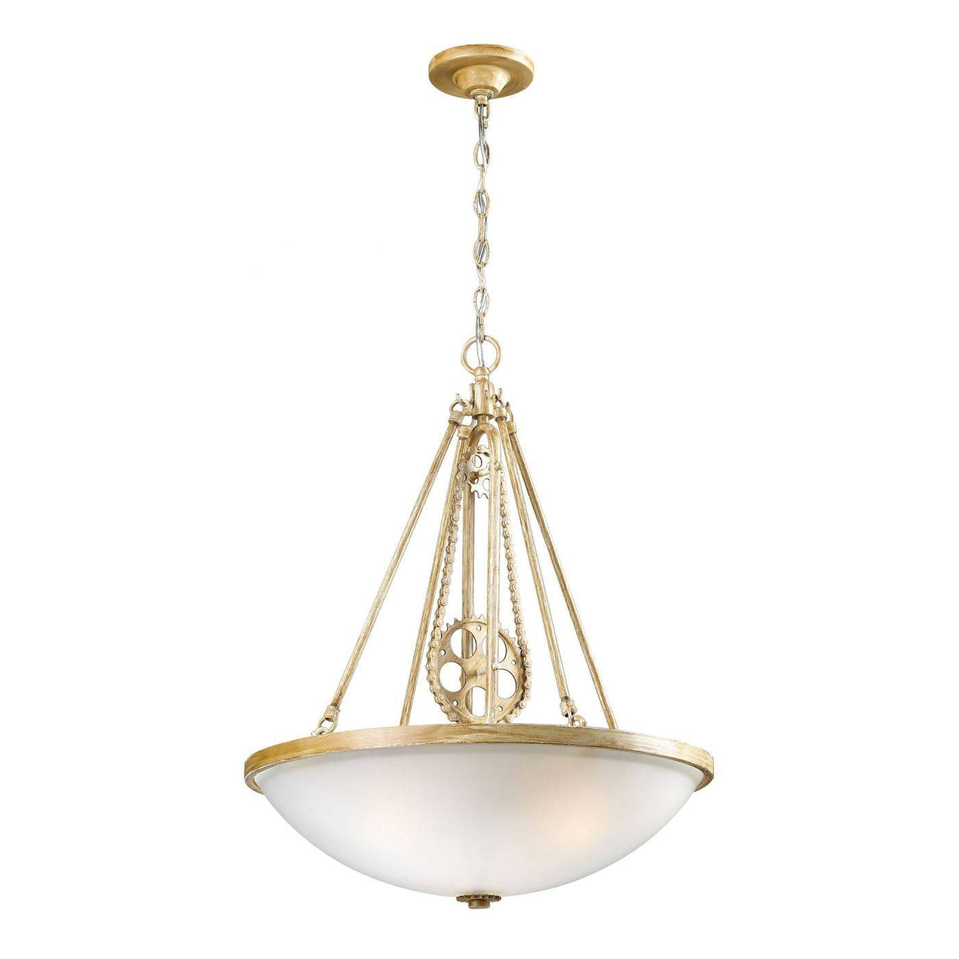 ceiling lamps elk group 3 cog and chain light pendant in bleached wood with white frosted glass lamp 530