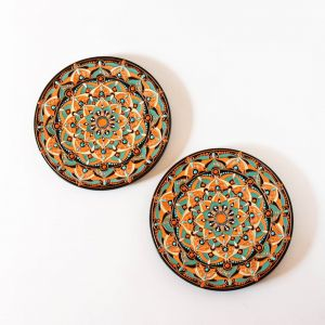 Picturesque Moroccan Decorative Wall Plates Unique Set Of 2 Moroccan Wall Art Plates orange and Turquoise