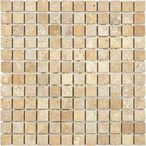 "Travertine Versailles Pattern Best Of 1""x1"" Tumbled Giallo Travertine Mosaics 76 014 Tile"