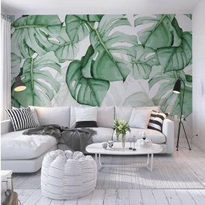 Tropical Living Room Inspirational Tropical Green Leaves Wallpaper Wall Mural Watercolor Fresh