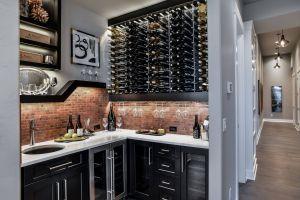 Wet Bar Cabinets Elegant Wet Bar with Brick Tile Backsplash