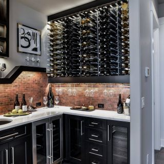 Wet Bar Cabinets Elegant Wet Bar with Brick Tile Backsplash