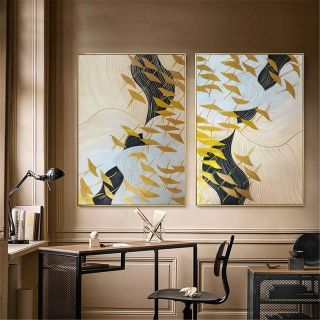 2 Piece Wall Decor Awesome 2 Pieces Gold Bird original Abstract Painting On Canvas Wall