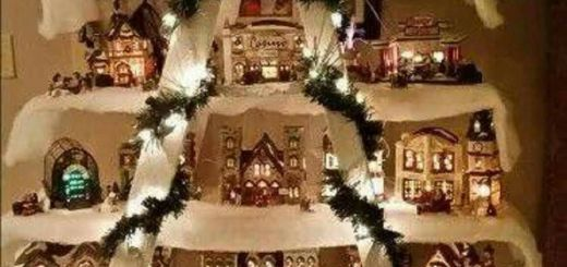 Best Of Christmas House Decorations Indoor Fresh Christmas Village Displayed On Shelves On A Ladder
