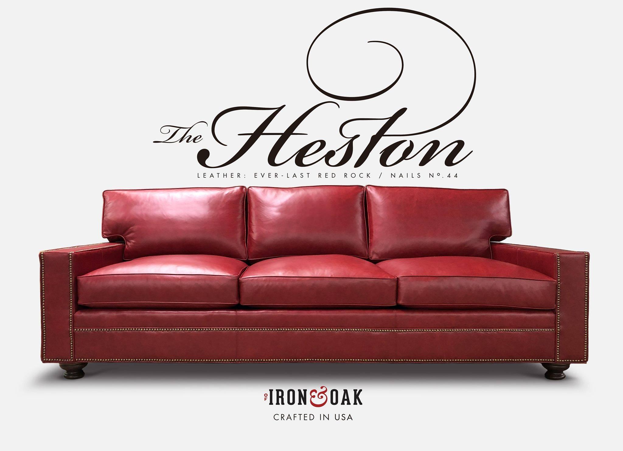 Heston Leather Sofa Everlast Red Rock