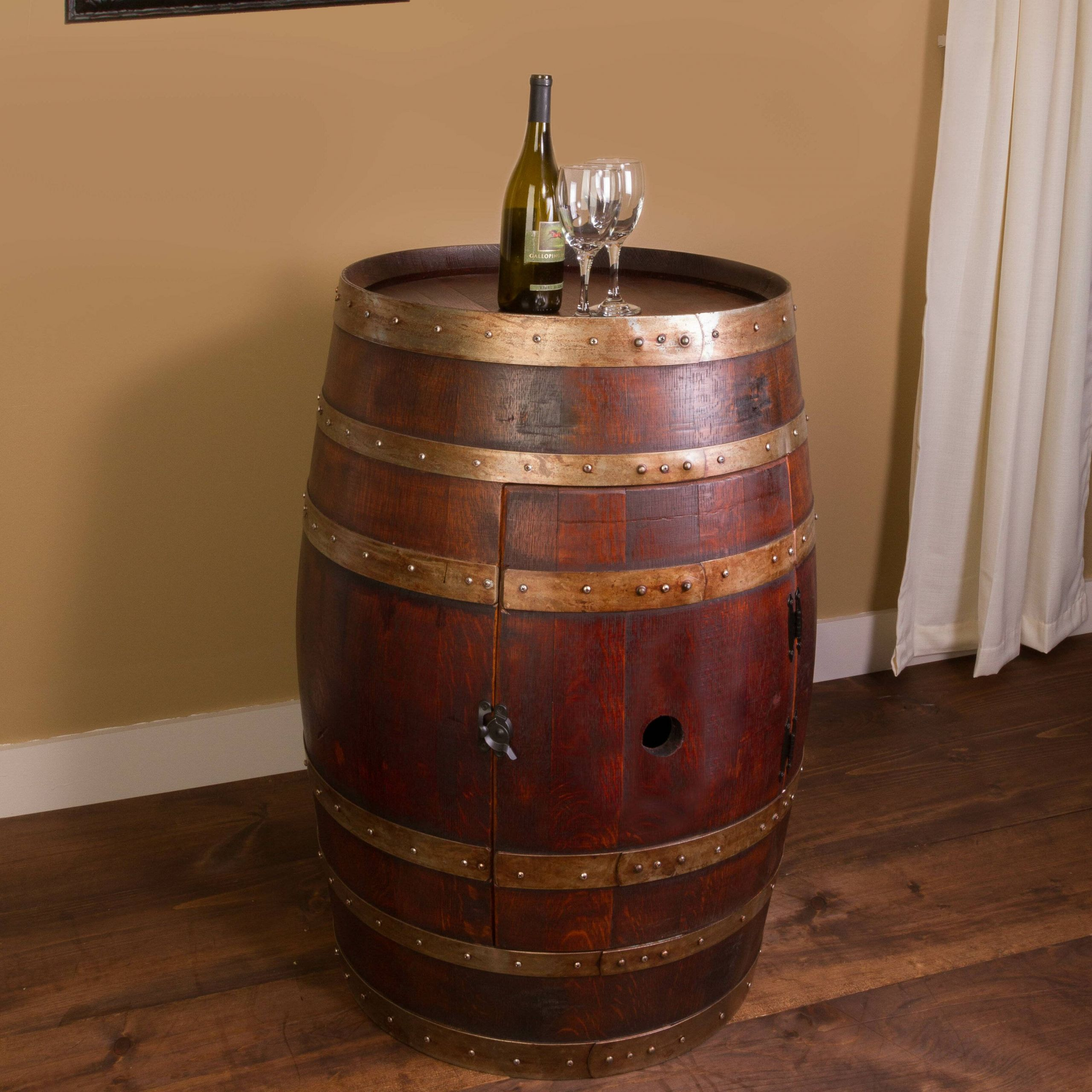 newenton wine barrel bar with bar cabinet