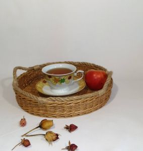 Decorative Tray with Balls Fresh Wicker Round Tray Basket Tray Rustic Coffee Table Tray