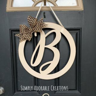 Door Initial Awesome Monogram Script Initial Circle Door Hanger