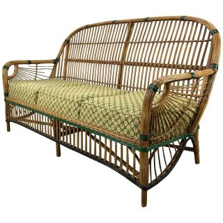 Exceptional Balinese Outdoor Daybed Lovely Stunning Art Deco Split Reed or Stick Wicker Settee