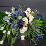 Exceptional Unique Flower Arrangements Luxury for A Beloved Husband A Purple Grey and Ivory Casket