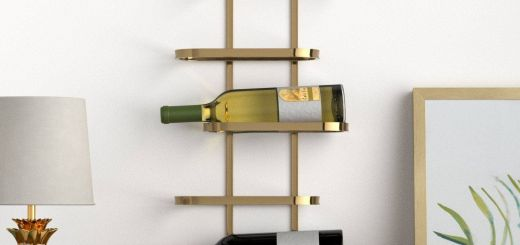 "Exceptional Wine Wall Decor Ideas Inspirational Amazon Rivet Modern Wood Wall Wine Rack 27 8""h Gold"
