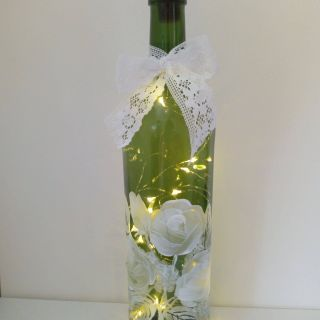 Fantastic Wine Bottle Flowers New Green Wine Bottle Lamp with Hand Painted White Roses