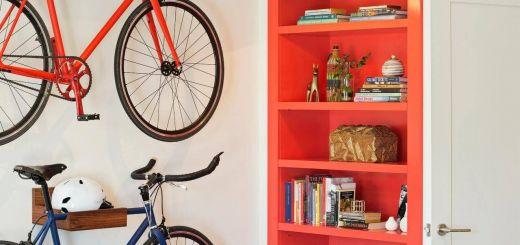 Fantastic Wooden Bike Shelf Fresh Transitional Bedroom with Bike Storage