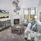 Floor and Decor Cypress Luxury Contemporary Decor with Fireplace In Living area In Miramesa