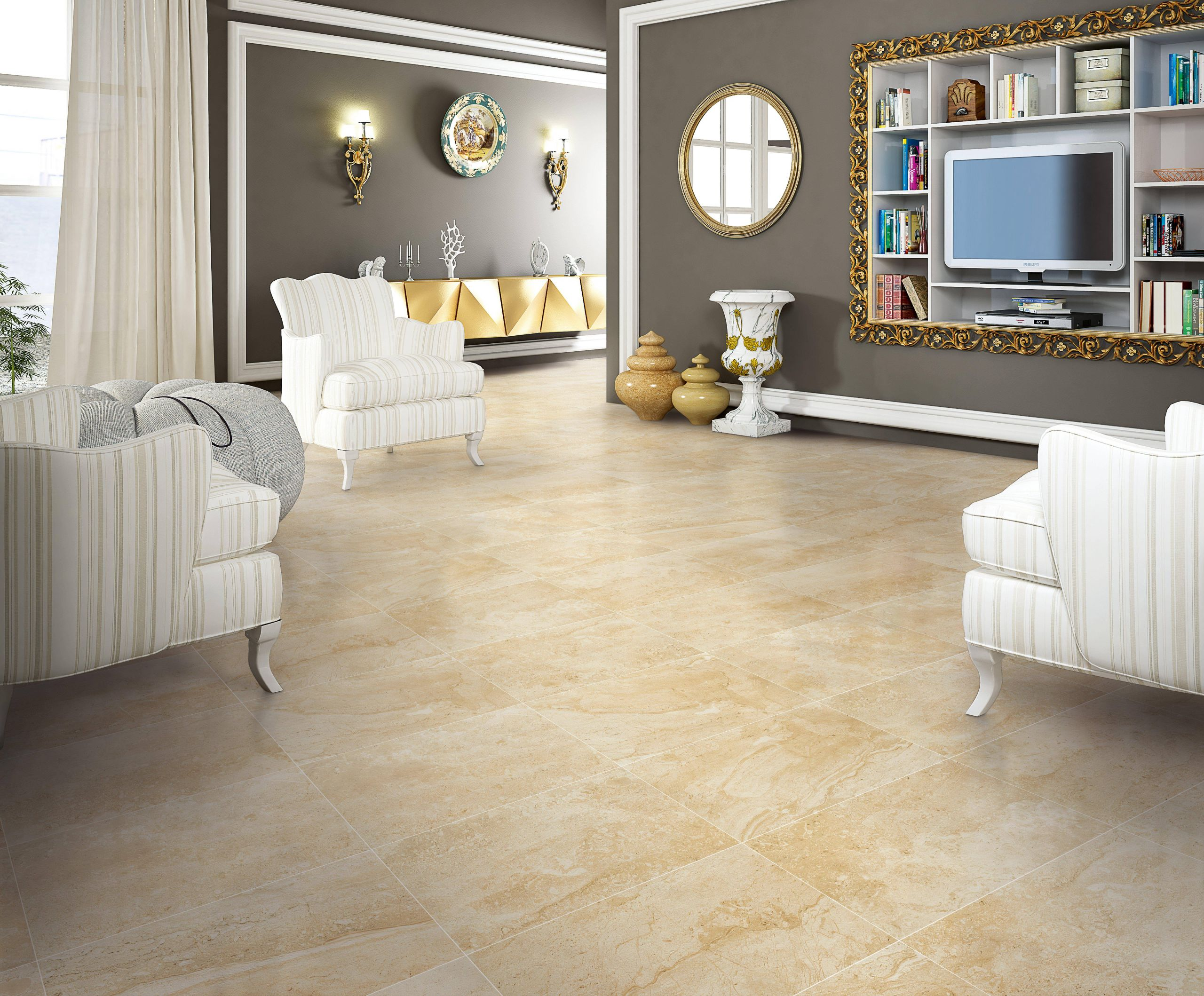 daino reale porcelain tile living room