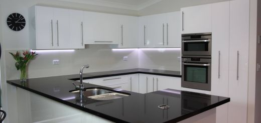 Fresh Design Decorative Kitchen Counter Shelves New Black Benchtop White Cupboards Classic Style that Never