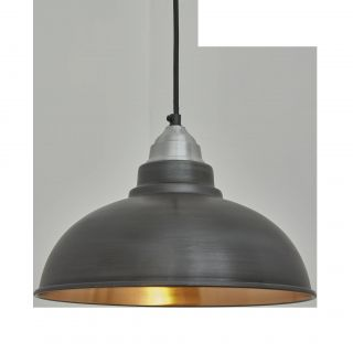 Fresh Design Industrial Light Elegant Old Factory Pendant 12 Inch Pewter & Copper