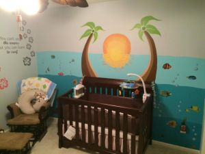 Incredible Baby Room Wallpaper Lovely Tropical island theme Nursery Hand Painted Sunset Fish