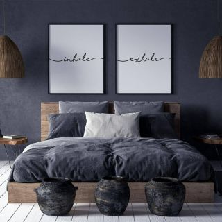 Inspirational Gray Bedroom Wall Decor Unique Inhale Exhale Print Wall Art Inhale Exhale Pilates Gifts