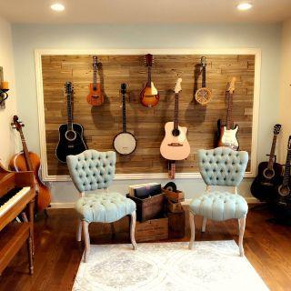 Inspirational Music Room Decorating Ideas Lovely Music Room Guitar Wall Guitars Banjo Banjolele Ukulele