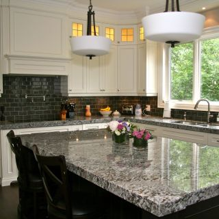 Lennon Granite with White Cabinets Unique Lennon Granite Pleted with Gray Subway Tiles and Cupboard