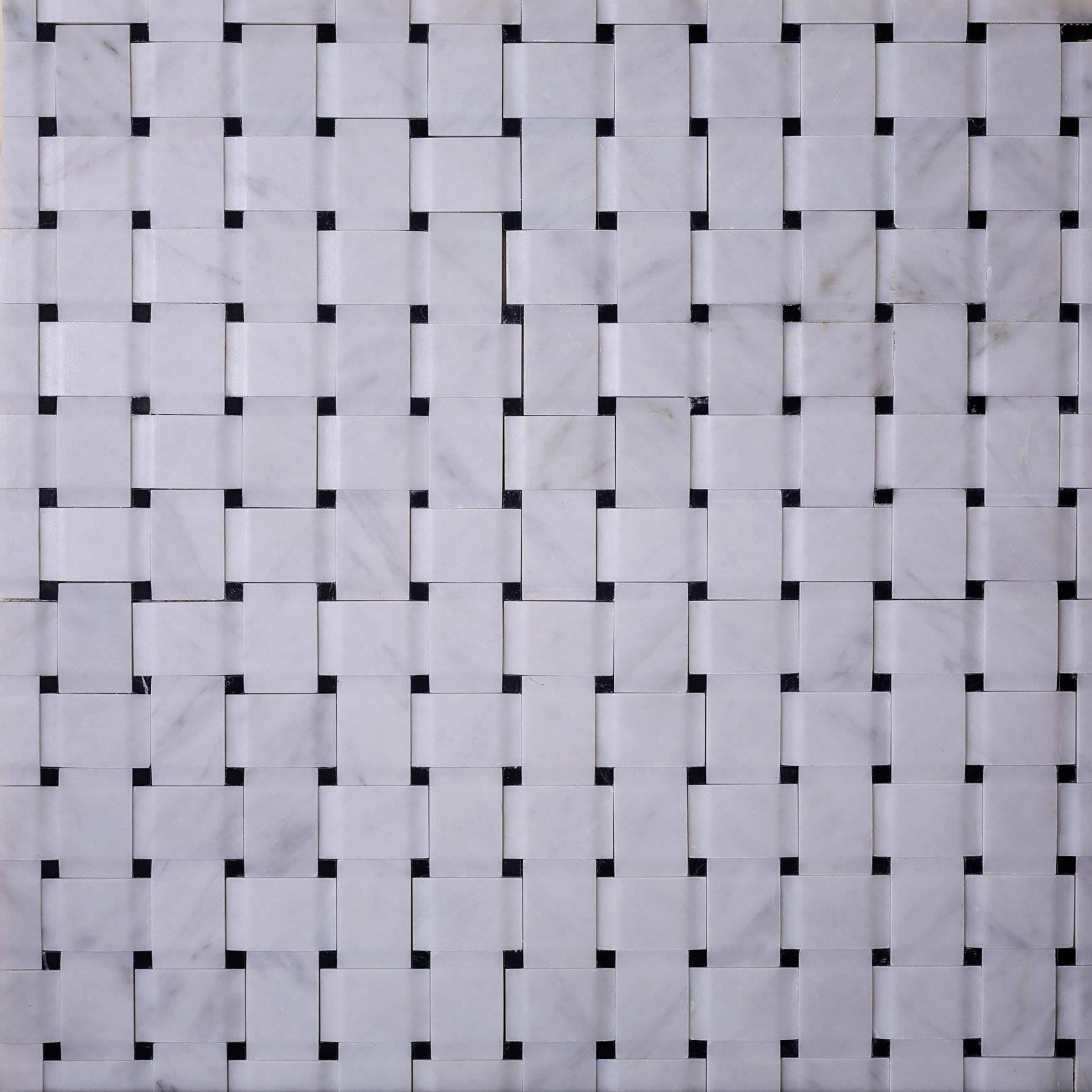 duomo 3d basket weave nero marquina mosaic tile 2